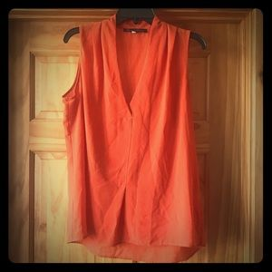orange sleeveless blouse Rose & olive XL v neck
